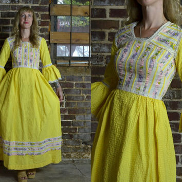 Vintage 70's Oaxacan Yellow Floral and Lace Patchwork Bell Sleeved Mexican Maxi Dress