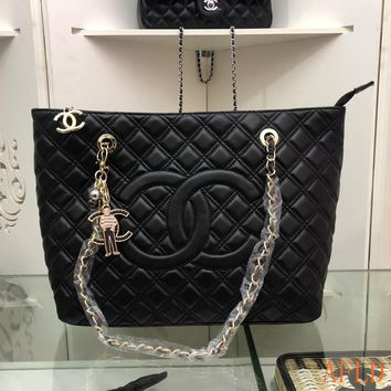 HCXX 19Aug 665 Fashion Topstitched Pattern Leather Chain Tote Large-capacity Shopper 35-28-12cm