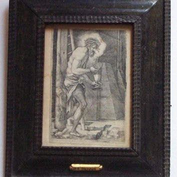 Woodcut Engraving / Antique Etching / Beham Engraving / 1500's Etching / Religious Engraving / 16th Century Art