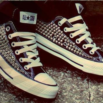 QIYIF custom spike studded converse shoes one sided shoes