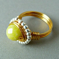 Spring Fever Wire Wrapped Ring - 24K Gold Plated Wire
