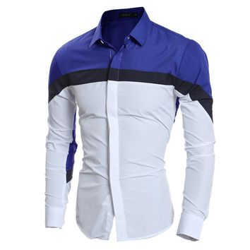 New Fashion Dress Personalized Patchwork Design 2017 Vintage Men Shirt Leisure Long Sleeve shirt Slim fit Casual Male shirts