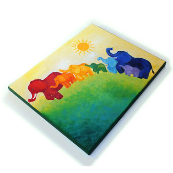 Elephant Rainbow Painting, 11x14 Acrylic Canvas, Wall art for kids rooms and nursery decor