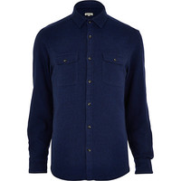 River Island MensNavy blue flannel long sleeve shirt