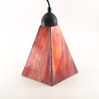 Red Pendant Lighting, Kitchen Island Lamp, Modern Interior, Unique Light Fixture, Ceiling Mount, Art Glass Shade, Choice of Hardware