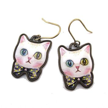White Odd Eyed Cat With a Bow Shaped Enamel Dangle Earrings