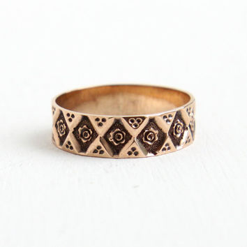 Antique Victorian 8k Rose Gold Floral Ring - 1880s Size 4 Wedding Cigar Band Eternity Flower Jewelry
