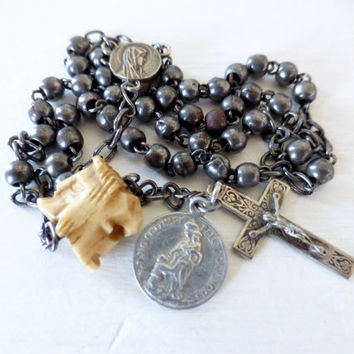 Rare, Antique French, Suffrage Rosary, With Mori Bead