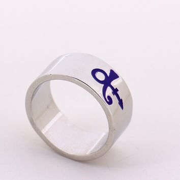 New Arrival 2 Colors Prince RIP Ankh Sign Symbol Logo Purple Rain Ring,Singer Ring,Prince Artist Silver Wedding Band Ring