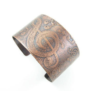 Music Inspired Tumbled Notes Cuff Wide Adjustable Copper Etched Cuff Music Jewelry Handmade Metal Jewelry Music Teacher Gift