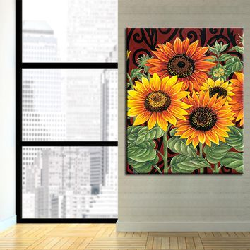 Flowers DIY Painting By Numbers Kits Coloring Sunflower Oil Pictures Wall Art Acrylic Hand Paint Abstract On Canvas Home Decor