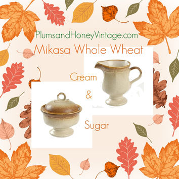 Mikasa Cream and Sugar Set Whole Wheat e8000 Pattern Fall Colors Autumn Vintage Kitchen