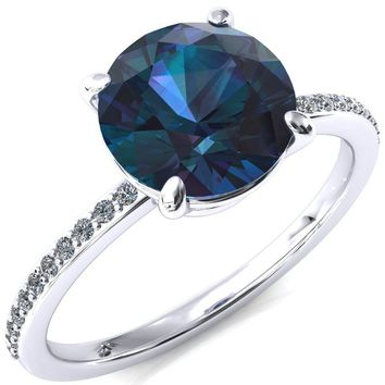 Flora Round Alexandrite 4 Prong 1/2 Bead Eternity Diamond Accent Engagement Ring
