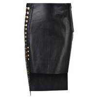 X Anthony Vaccarello Leather Cut Out Panel Skirt