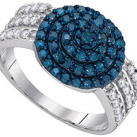 Blue Diamond Fashion Ring in 10k White Gold 0.75 ctw