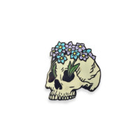 Forget Me Not Skull Pin