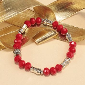 San Benito Red Beaded Bracelet