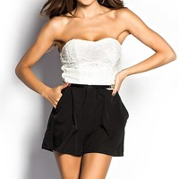 Madison Black and White Crochet Lace Strapless Romper with Pockets