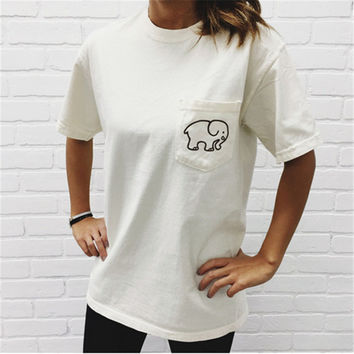 Summer Cotton Women T Shirts 2016 New Style Ivory Ella Cartoon Elephant Print Casual T-shirt Female Tops