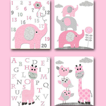 Pink Gray Elephant Giraffe Alphabet Numbers Canvas Wall Art Nursery Baby Girl Nursery Art Print Nursery Print Kids Art Children Art set of 4