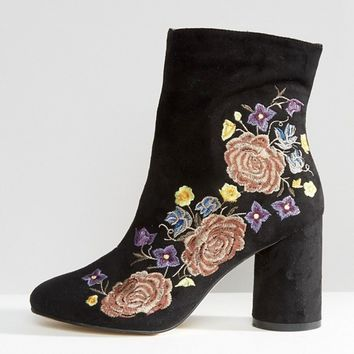 River Island Embroidered Heeled Ankle Boot at asos.com