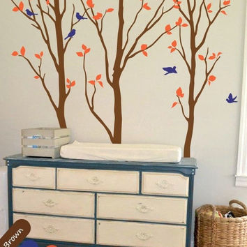 Birch trees wall decal with birds and leaves nursery wall decoration mural 235X205CM