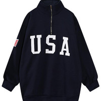 Black Letter American Flag Patch Zipper Front Sweatshirt