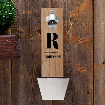 Personalized Wall Mounted Bottle Opener and Cap Catcher - Family Initials