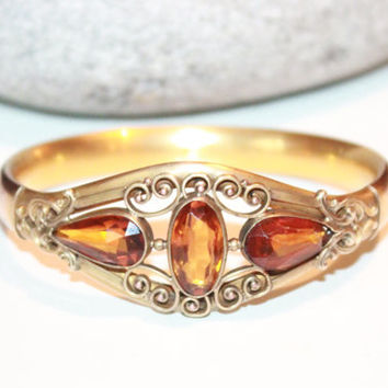 Antique 1890s Victorian Hinged Faceted Topaz 10K Rolled Gold Bangle Antique Edwardian Jewellery