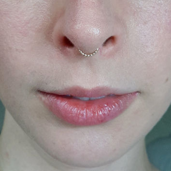 Beaded Gold Septum Ring - minimal septum jewelry, nickel free fine silver and gold filled nose ring, helix ring, small septum ring