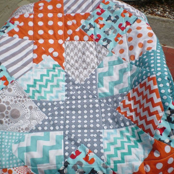 Baby quilt,baby boy or girl bedding,rustic,woodland,patchwork crib quilt,fox,orange,grey,teal,aqua,chevron,toddler,modern-Falling Stars-Fox
