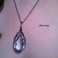 20 and a half inch Zig Zag Wire Wrapped Glass Teardrop Pendant