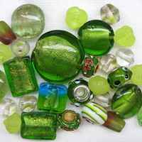 30 Pcs Bright Green Bead Mix Assorted Beads Olivine Beads Large Olivine Green Beads Lentil Beads Glass Bead Soup Lime Green Beads