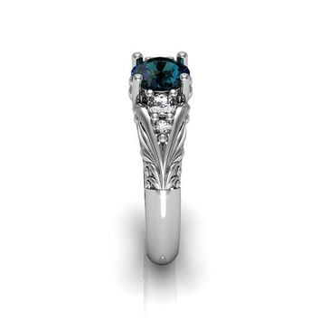 Art Deco Ring -  Antique Style Sterling Silver Created Alexandrite Floral  Engagement  Wedding Anniversary and Promise Solitaire Ring