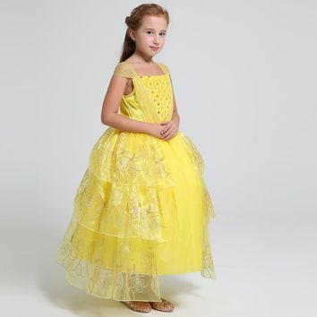 Summer 2017 movie Belle costume kids sweet princess Belle dress baby girls cotton Bronzing flower Children party wedding dress