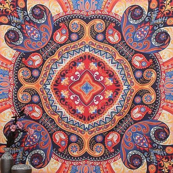 Colorful Square Tapestry Psychedelic Celestial Indian Tapestry Wall Hanging Throw Bohemian Door Curtain Towel