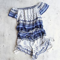 lovecat - vacation ready romper - white/blue