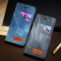 Phone Case For iPhone 6 6S 7 Plus Leather Jean Denim Cloth Anti-knock For iPhone 7 6 6s Cases Flip Card Holder Shells