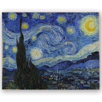 Canvas Art Print World Famous Painting Starry Night by Van Gogh Copy of Canvas Prints For Home Decoration High Definition LZ139