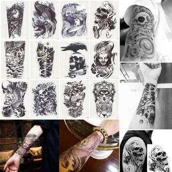 12Pcs/Lot 3D Waterproof Body Arm Leg Art Tattoo Sticker Handsome Tatouage Glitter Black Temporary Tattoos Tatoo Large 210*150mm