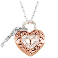 Sterling Silver Rose Plated 1/6 CTW Diamond Heart & Key Necklace