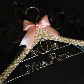 Cinderella BLING & PEARL Hanger / Disney Wedding Hanger / Bridal Hanger / Disney Bride Hanger / Cinderella Wedding / Disney Wedding