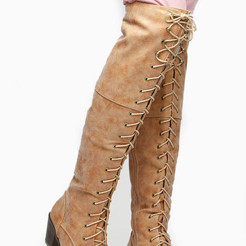 Shoe Republic LA Chunky Lace Up Knee High Boots