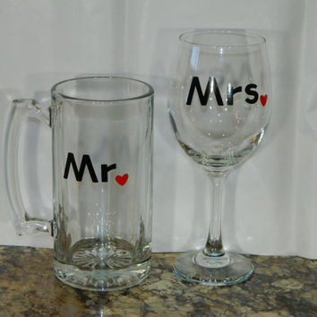SET Mr. and Mrs. Bride wine glass and groom beer mug for the perfect wedding toast CUSTOMIZED weddings