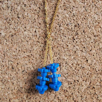 Lego Blue Charm Necklace - gold chain blue flower kids toy pieces repurpose unique chic geekery FREE shipping to United States