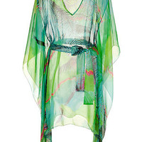Matthew Williamson Escape - Mint Multicolor Printed Silk Chiffon Caftan
