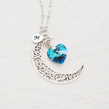 personalized crescent moon necklace,moon necklace,astrology sign,galaxy necklace,swarovski bermuda blue heart jewelry,love you to the moon