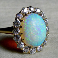 Antique 3 ct Opal Engagement Ring 1.6 cttw Mine Cut Diamond Australian Opal Ring 18K Rare Blue Black Opal Antique Ring