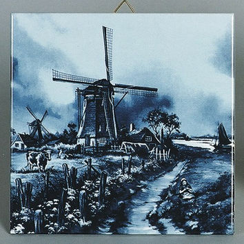 Dutch Gift Delft Blue Tile Mill/Cow