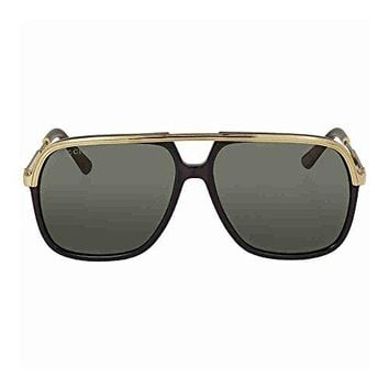 Gucci GG0200S 001 Black/Gold GG0200S Square Pilot Sunglasses Lens Category 3